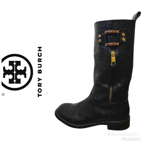 e5edbd4af80 Tory Burch Stowe Moto Black Pebbled Leather Boots.  M 5c33dfcc9539f776f8298dd0